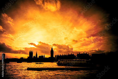 blazing sunset London skyline abstract