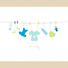 Baby Boy Hanging Symbols Shirt Dots Border