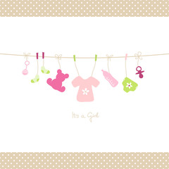 Baby Girl Hanging Symbols Shirt Dots Border