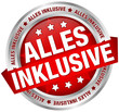 "Button Banner ""Alles inklusive"" rot/silber"