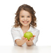 girl with green apple