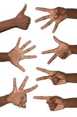 Hände zeigen Nummern