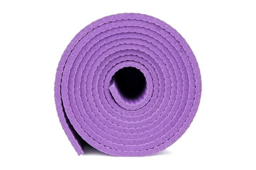 Rolled up yoga mat isolated on white