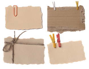 various paper notes or tags