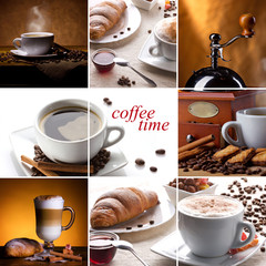 coffee collage with different cups, coffee mill and croissant