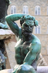 Satyr statue in Neptune fountain of Florence, Italy