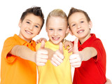 happy children with thumbs up gesture