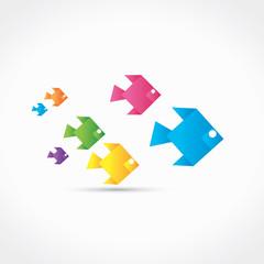 origami poissons de couleur
