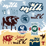 Milk labels set. Cow vector illustration.