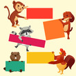 Set of labels with animals, vector illustration
