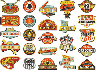 American vintage shops sign boards collection