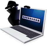 Laptop and cybercrime poster