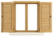 canvas print picture - Wooden window with open shutter