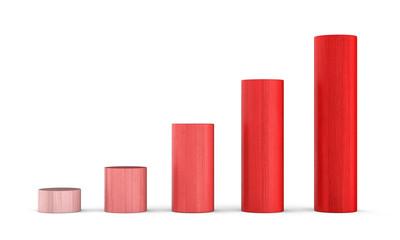 Aufwärtstrend Rot - 3D Bauklötze Diagramm Rund 1