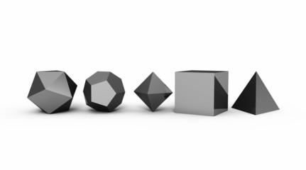 Platonische Körper in 3D - Edel Schwarz 4