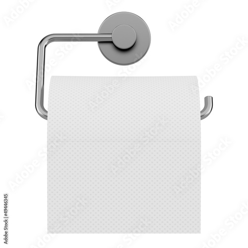 toilet paper on holder isolated on white background