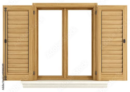 canvas print picture Wooden window with open shutter