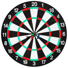 used dart board with three arrows