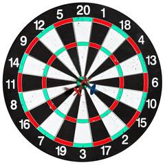 used dart board with three arrows