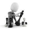 3d man pushing a chess figure -  business concept and strategy