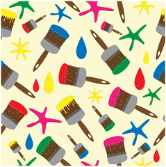 pattern from brushes with a varicoloured paint