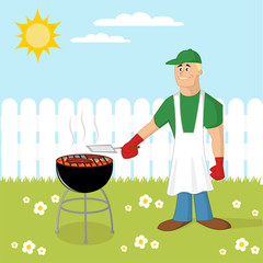 Barbecue cooking. Cartoon illustration.