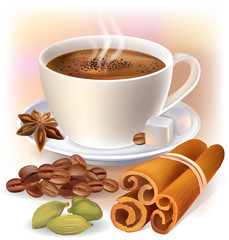Aromatic coffee with spices