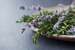 Fresh thyme and dried lavender on a plate