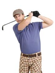 Golfer swinging his club