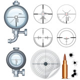 Sniper Scope, Target, Crosshair. Vector Clip Art