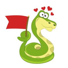 Snake love. Vector.
