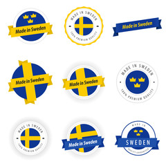 Set of Made in Sweden labels and ribbons