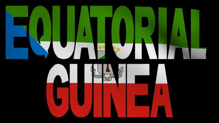 Equatorial Guinea text with fluttering flag animation