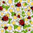Spring beetle and flower pattern