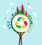 Go Green world concept tree