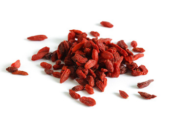 Goji berries fruit or wolfberry, dried isolated on white, macro