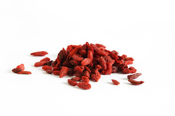 Goji berries or wolfberry fruit, dried isolated on white