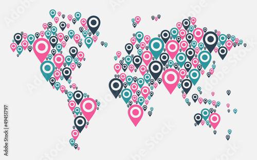 GPS world map concept