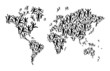 World map people icon background