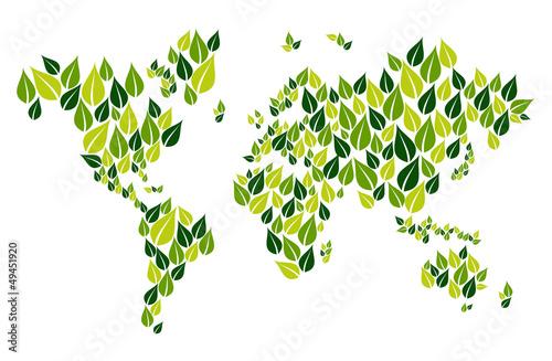 Go green leaf world map