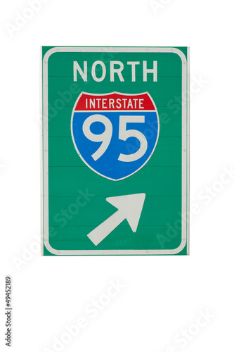Direction sign to North I-95 in New England, isolated