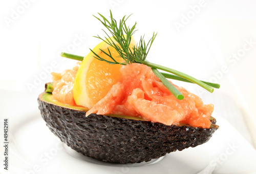 Fresh avocado and salmon tartare