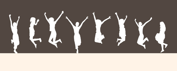 Jumping silhouettes isolated on brown background