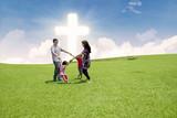 Catholic family celebrate Easter