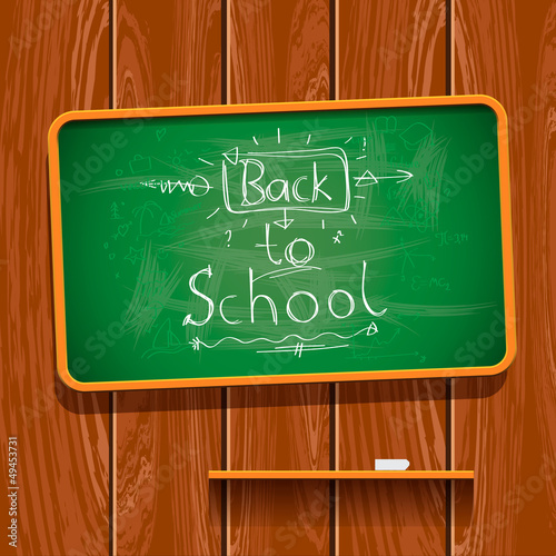 Back to school, chalkwriting on blackboard, vector Eps10 image.