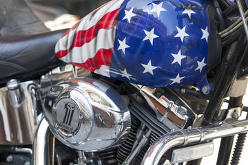 Motorcycle fuel tank with an American flag closeup
