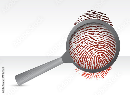 Detectives magnifier with fingerprint