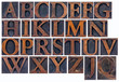 isolated alphabet in wood type