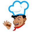 Happy humor Chef Face. Restaurant business. Vector
