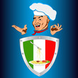 Happy joyful Chef and traditional Italian food.Vector